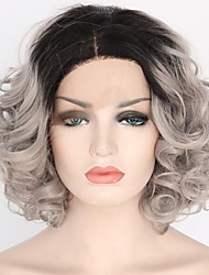 cheap -Synthetic Lace Front Wig Curly / Loose Wave Bob Haircut Synthetic Hair Dark Roots Gray Wig Women's Short / Medium Length Lace Front Wig