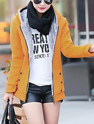 preiswerte -Damen Solide Freizeit Ausgehen Lang Mantel, Mit Kapuze Winter Herbst Polyester