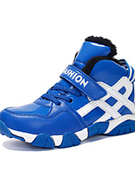 cheap -Boys' Shoes PU Leatherette Winter Fluff Lining Comfort Athletic Shoes Basketball Shoes Magic Tape Lace-up for Athletic Casual Blue Black