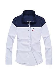 Masculino Camisa Social Diário Casual Estampa Colorida Algodão Colarinho de Camisa Manga Comprida