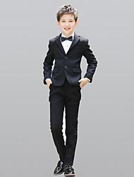 Недорогие -Черный 100% хлопок Детский праздничный костюм - 5 Включает в себя Куртка Широкий пояс Жилетка Рубашка Брюки Бабочка