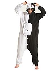 abordables -Adulte Pyjamas Kigurumi Panda Combinaison de Pyjamas Costume Polaire Noir blanc Cosplay Pour Pyjamas Animale Dessin animé Halloween Fête / Célébration