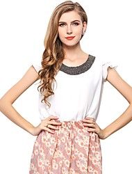 cheap -Women's Street chic Blouse-Solid Colored,Beaded