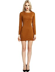 cheap -Women's Party Daily Vintage Casual Sexy Bodycon Sheath Dress,Solid Round Neck Above Knee Long Sleeve PU Rayon All Season Spring High Waist