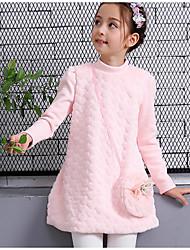 abordables -Vestido Chica de Diario Noche Un Color Floral Pelo de Conejo Algodón Poliéster Manga Larga Invierno Otoño Bonito Activo Princesa Rosa