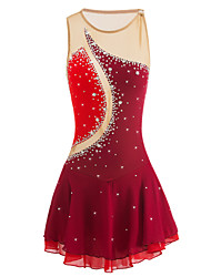 abordables -Robe de Patinage Artistique Femme Fille Patinage Robes Bourgogne Strass Haute élasticité Utilisation Tenue de Patinage Fait à la main A