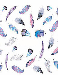 cheap -1pcs Fashion Different Colors Beautiful Feather Nail Art Water Transfer Decals For Lady Beauty Nail Art Design STZ445-448