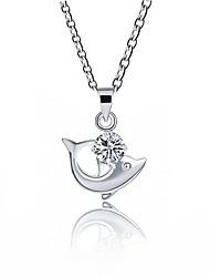 Недорогие -Жен. Синтетический алмаз Искусственный бриллиант Ожерелья с подвесками - Классика Мода Милый Дельфин Серебряный Ожерелье Назначение