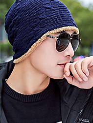 Для мужчин Для офиса На каждый день Широкополая шляпа,Зима Вязанная Один цвет Стильные Черный Темно синий