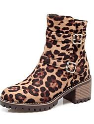baratos -Mulheres Sapatos Pele Nobuck Outono / Inverno Conforto / Inovador / Botas da Moda Botas Salto Robusto Ponta Redonda Botas Curtas / Ankle