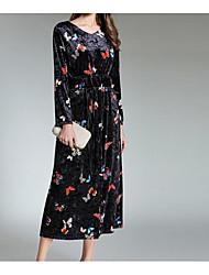 Dámské Sexy Běžné/Denní A Line Šaty Zvířecí vzor,Dlouhé rukávy Do V Midi Polyester Podzim Mid Rise Lehce elastické Neprůhledné