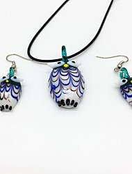 cheap -Women's Bohemian Jewelry Set 1 Necklace Earrings - Casual Bohemian Fashion Owl Green Jewelry Set For Party Daily