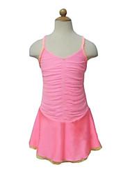 abordables -Robe de Patinage Artistique Femme Fille Patinage Robes Rose Spandex Non Elastique Utilisation Exercice Tenue de Patinage Couleur Pleine