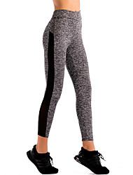 abordables -Mujer Deportivo Medio Retazos Poliéster Encaje de costura Legging,Gris
