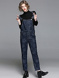 cheap -EWUS Women's Going out Casual/Daily Street chic Spring Sweater Pant Suits,Solid Galaxy Stand Long Sleeve Knitting Denim Polyester Stretchy