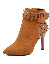 cheap -Women's Shoes Nubuck leather Spring Fall Fashion Boots Comfort Boots Stiletto Heel Booties/Ankle Boots for Casual Black Khaki