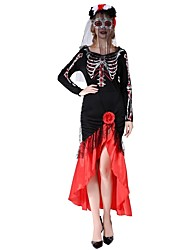 cheap -Victorian Costume Female One Piece Dress Red/black Vintage Cosplay Polyester Long Sleeves Bishop Tea Length Christmas Dress