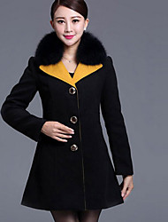 cheap -Women's Daily Casual Winter Fall Coat,Color Block Shirt Collar Long Sleeve Long Wool