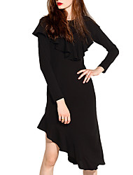 cheap -Women's Daily Going out Vintage Cute Casual Sheath Little Black DressSolid Round Neck Asymmetrical Long Sleeve Polyester Fall Mid Rise