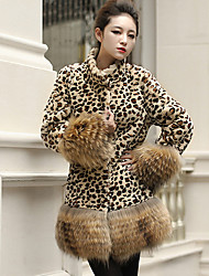 cheap -Women's Daily Casual Fall Fur Coat,Leopard Stand Long Sleeve Regular Faux Fur Oversized