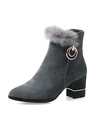 preiswerte -Damen Schuhe Nubukleder Winter Frühling Komfort Stiefel Blockabsatz Spitze Zehe Booties / Stiefeletten für Party & Festivität Schwarz