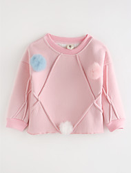 cheap -Girls' Solid Tee,Cotton Fall Cartoon Red Blushing Pink Gray
