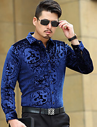 cheap -Men's Casual/Daily Vintage Shirt,Solid Shirt Collar Long Sleeve Polyester