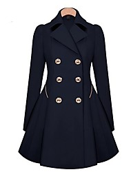 cheap -Women's Vintage Coat-Solid Colored Shirt Collar