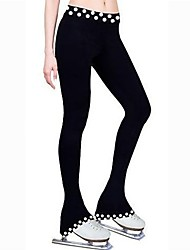 cheap -Figure Skating Footed Tights Women's Kid's Ice Skating Pants / Trousers Sweatshirt Black Spandex Stretchy Solid Performance Practise