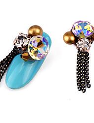 abordables -2 pcs luxe ensemble tarière alliage bijou nail art décoration