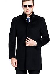 Langt Ærme Høj krave Herrer Lang Ensfarvet Vinter Simple Dagligdagstøj Afslappet/Hverdag Frakke,Polyester