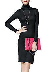 Dámské Vintage Dovolená Pouzdro Šaty Jednobarevné,Dlouhé rukávy Rolák Nad kolena Bavlna Zima Podzim Mid Rise Lehce elastické Neprůhledné