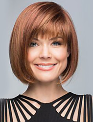 cheap -kinky straight Bob Haircut With Bangs Machine Made Human Hair Wigs Side Part Medium Natural Black Medium Auburn Beige Blonde//Bleach