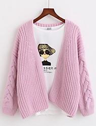 Damer Daglig Normal Cardigan Ensfarvet,V-hals Langærmet Polyester Vinter Forår Solid Elastisk