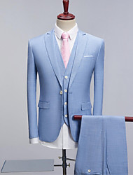 cheap -Sky blue Pattern Standard Fit Polyester Suit - Peak Single Breasted Two-buttons