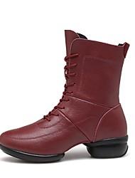 baratos -Mulheres Botas de Dança Couro Têni Recortes Sem Salto Personalizável Sapatos de Dança Preto / Vermelho