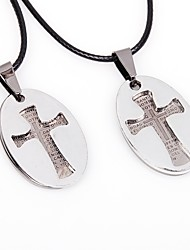 cheap -Couple's Cross Stainless Steel Leather Pendant Necklace  -  Hip-Hop Korean Silver Necklace For Valentine Going out