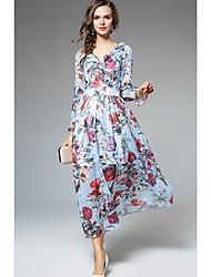 economico -Swing Vestito Da donna-Casual Boho Con stampe A V Maxi Medio Maniche lunghe Poliestere Estate A vita medio-alta Media elasticità Sottile