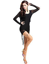 cheap -Shall We Latin Dance Dresses Women's Performance Spandex Gore Long Sleeve High Dresses