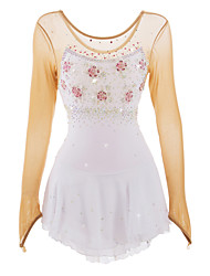 cheap -Figure Skating Dress Women's Girls' Ice Skating Dress White/White Rhinestone Appliques Floral Petals High Elasticity Sport Sports