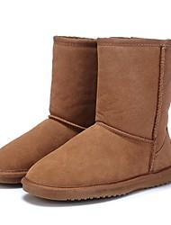 preiswerte -Damen Schuhe Leder Winter Komfort / Schneestiefel / Flaum Futter Stiefel Flacher Absatz Runde Zehe / Geschlossene Spitze Grau / Kaffee /