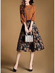 abordables -Mujer Línea A Vestido Noche Vintage Casual,Estampado Escote Chino Midi Mangas 3/4 Poliéster Otoño Tiro Medio Rígido Opaco