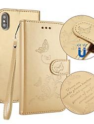 abordables -Coque Pour Apple iPhone X iPhone 8 Porte Carte Portefeuille Avec Support Clapet Relief Coque Intégrale Papillon Dur faux cuir pour iPhone