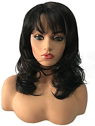 cheap -Women Synthetic Wig Medium Length Curly Black/Medium Auburn Highlighted/Balayage Hair Celebrity Wig Natural Wigs Costume Wig