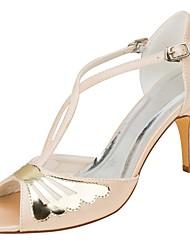 preiswerte -Damen Schuhe Stretch - Satin Sommer Pumps Hochzeit Schuhe Stöckelabsatz Peep Toe Paillette für Party & Festivität Kleid Champagner