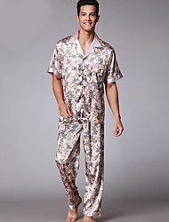 cheap -Men's Suits Pajamas Floral Polyester Light gray Wine Navy Blue Camel Brown
