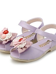 cheap -Girls' Shoes Leatherette Summer First Walkers Sandals Bowknot / Button for Purple / Light Blue / Party & Evening / Peep Toe