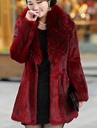 Недорогие -Жен. Пальто с мехом V-образный вырез Уличный стиль-Однотонный,Искусственный мех Меховая оторочка