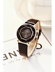 preiswerte -Damen Simulierter Diamant Uhr Armbanduhr Modeuhr Chinesisch Quartz Imitation Diamant PU Band Luxus Glanz Elegant Schwarz Weiß Rot Braun