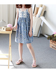 cheap -Girl's Casual/Daily Floral Dress,Polyester Spring Summer Sleeveless Simple Blue